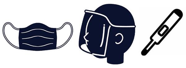 コロナ対策のマスク、フェイスシールド、体温計