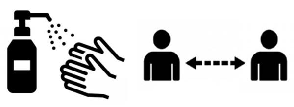 コロナ対策の消毒液、ソーシャルディスタンス